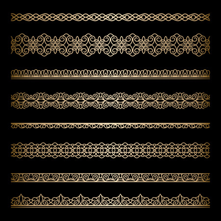 Set of vintage gold borders on black Vector