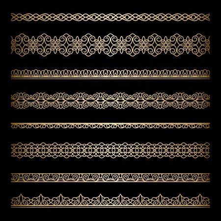 gold swirls: Set of vintage gold borders on black Illustration