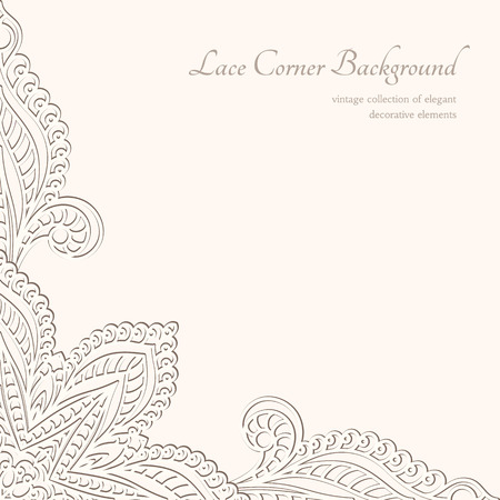 Vintage background, lacy corner ornament Vector