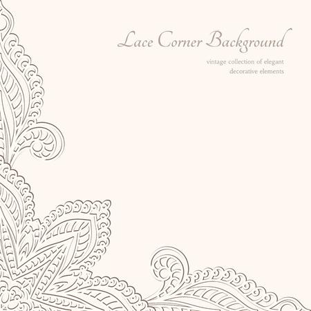 dekorativa mönster: Vintage bakgrund, lacy hörn prydnad Illustration