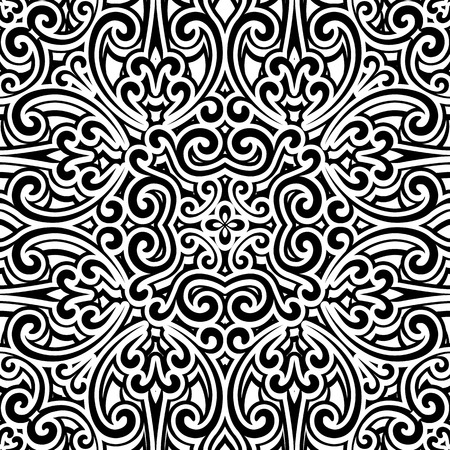 abstract swirls: Black and white background, vintage ornament seamless pattern