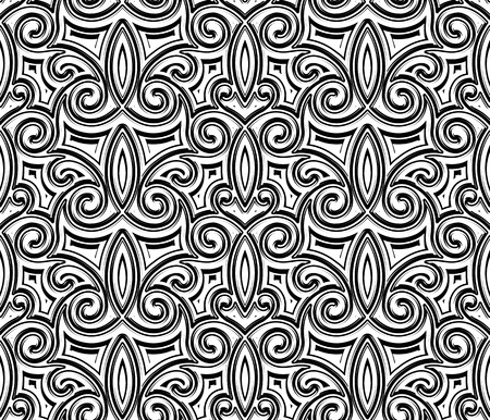 Zwarte en witte naadloze patroon, vintage swirly ornament