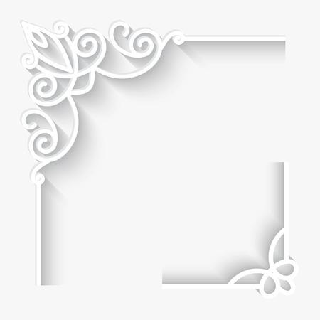 白い背景の上の紙のコーナーの装飾を設定します。