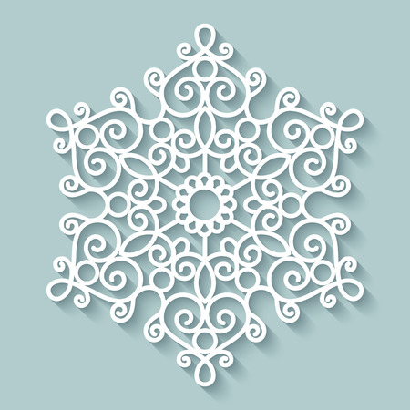 Paper lace doily, round crochet ornament Vector