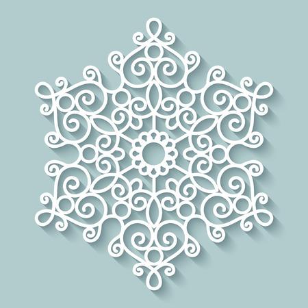 Paper lace doily, round crochet ornament Ilustração