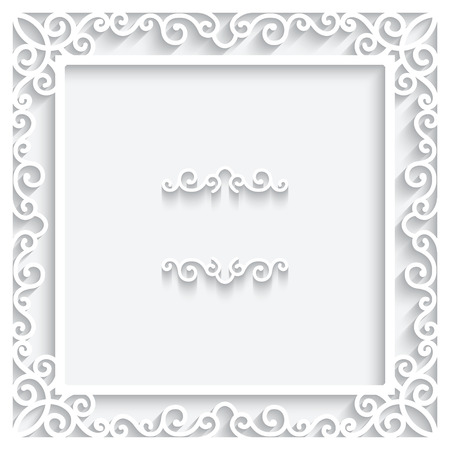 Paper frame ornament on white background Vector