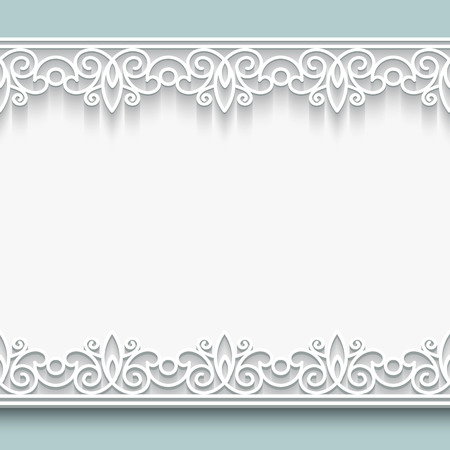 Paper lace background, ornamental frame with seamless borders