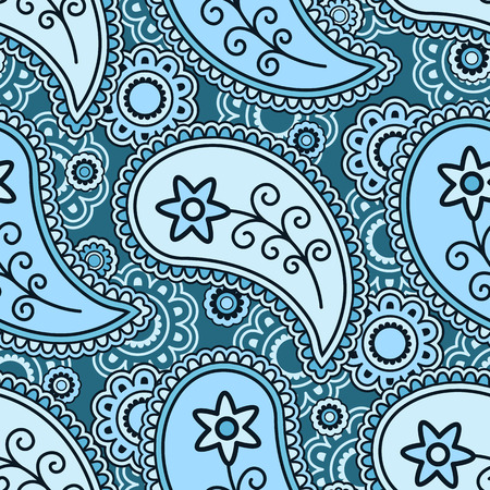 floral tracery: Damask paisley seamless pattern, abstract blue ornament Illustration