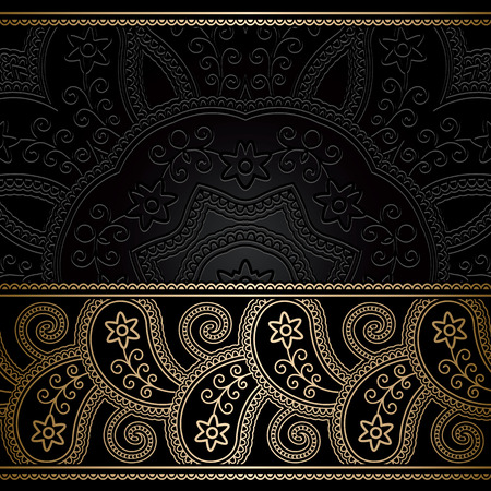 gold swirls: Vintage gold background with seamless border ornament