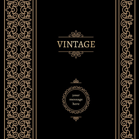 vertical dividers: Vintage gold frame with seamless borders on black background