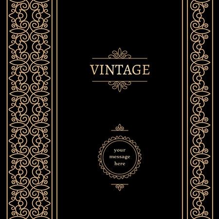 vintage gold frame: Vintage gold frame with seamless borders on black background