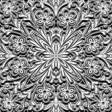 Black and white ornament, vintage seamless pattern Vector