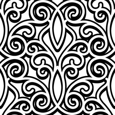 Black and white ornament, swirly seamless pattern Illustration
