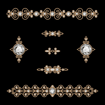 gold jewelry: Set of vintage gold jewelry decoration on black Illustration