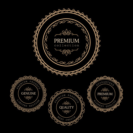 Set of premium quality labels isolated on black Vector