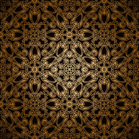 tulle: Vintage seamless pattern, gold lace background