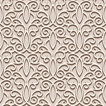 tulle: Seamless beige pattern, vintage ornamental lacy background