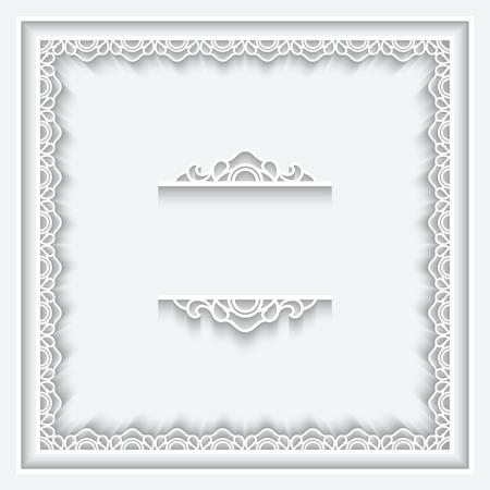 Paper ornamental lace frame on white background Ilustração