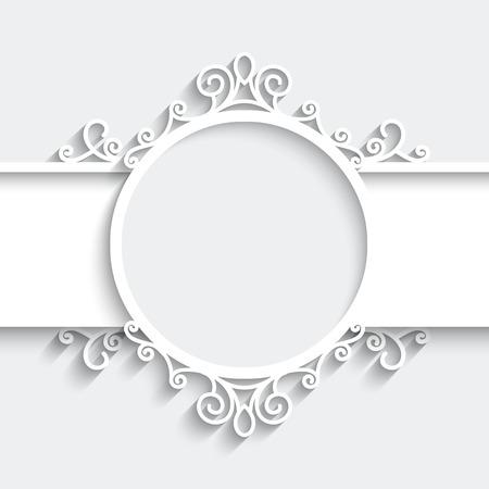 cortes: Marco de papel con la sombra, ilustraci�n ornamental en el fondo blanco