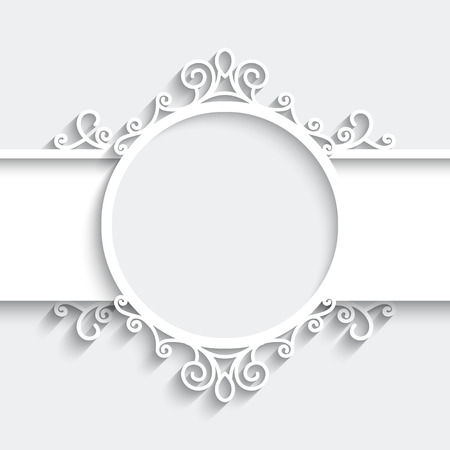 Paper frame with shadow, ornamental vignette on white background Vector