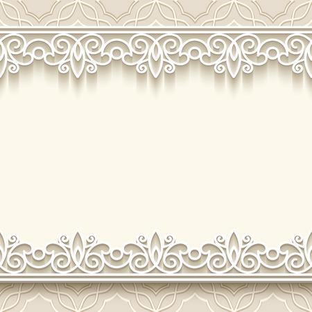 beige stof: Paper Lace frame met naadloze grenzen op decoratieve achtergrond