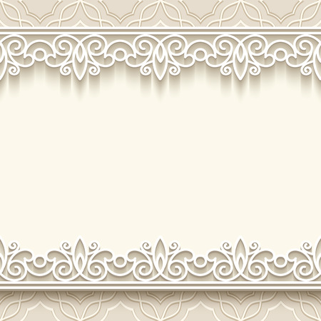 Paper lace frame with seamless borders over ornamental background Vector