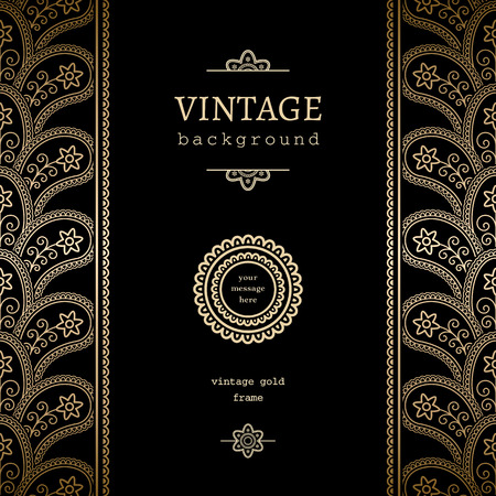 vertical dividers: Vintage gold background, vertical frame with seamless border ornament and label on black Illustration