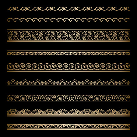Set of vintage gold wavy borders, ornamental dividers on black Vector