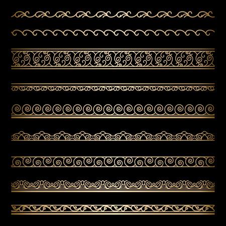 Set of vintage gold wavy borders, ornamental dividers on black