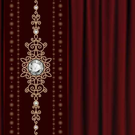 jewellery design: Vintage gold jewelry on red drapery background