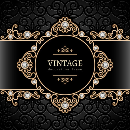 Vintage gold background, swirly jewelry frame Vector