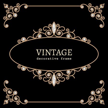 Vintage gold jewelry vignette on black background Illustration