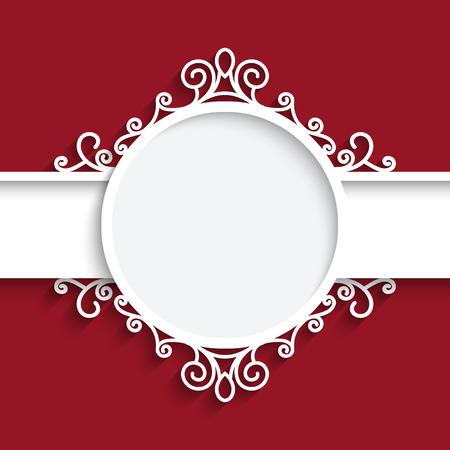 赤の背景の影、装飾用のラベルとカットアウト紙フレーム