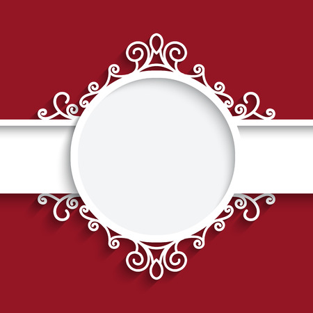 Cutout paper frame with shadow, ornamental label on red background Illustration