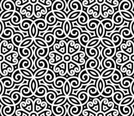 repeat texture: Black and white swirly ornament, damask seamless pattern Illustration