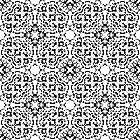 Black and white seamless pattern, swirly damask ornament Vector