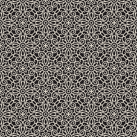 floral tracery: Seamless lace pattern, abstract swirly ornament Illustration