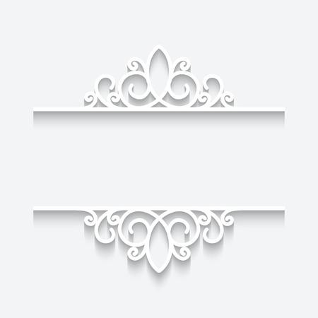 vintage scrolls: Cutout paper frame, ornamental divider on white background