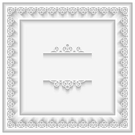 Square cutout paper lace frame on white background Vector