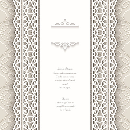 Paper frame with seamless lace borders over ornamental background Vector