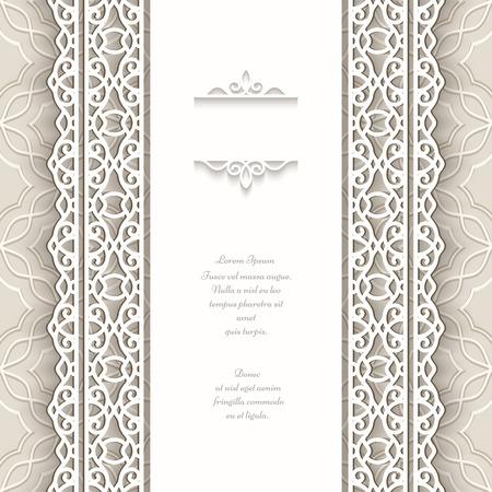 Papier frame met naadloze kant grenzen op decoratieve achtergrond