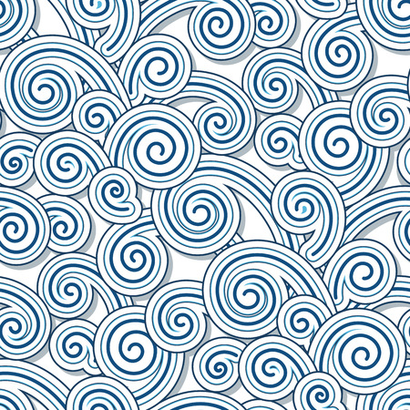 Abstract swirly waves, seamless pattern Vector