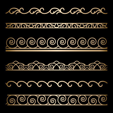 Set of wavy gold border ornaments on black Vector