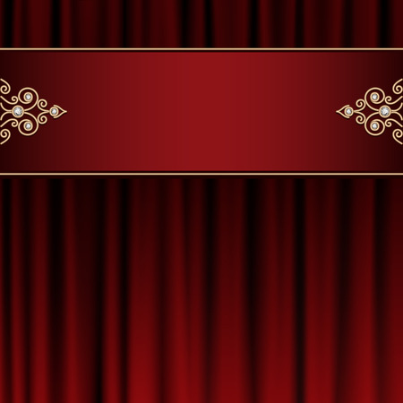 Vintage gold frame on red curtain background Vector