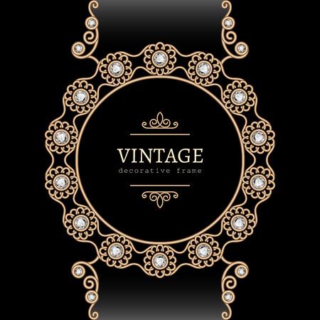 jewellery: Vintage gold background, round jewelry frame