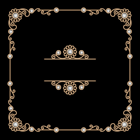 Vintage gold background, square jewelry frame on black