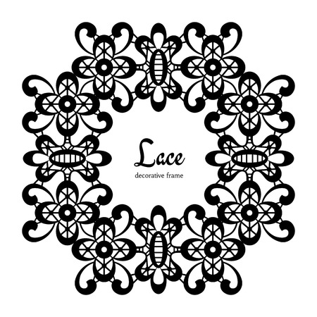 Black lace frame on white background, round lacy vignette Vector