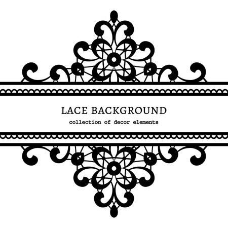Black and white lace background, ornamental lacy frame Vector