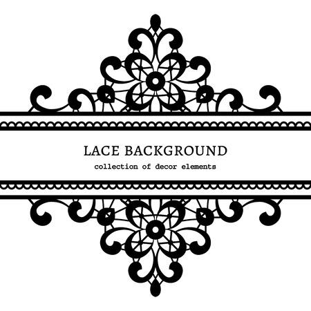 wzorek: Czarno-białe tło koronki, ozdobne ramki koronkowy Ilustracja