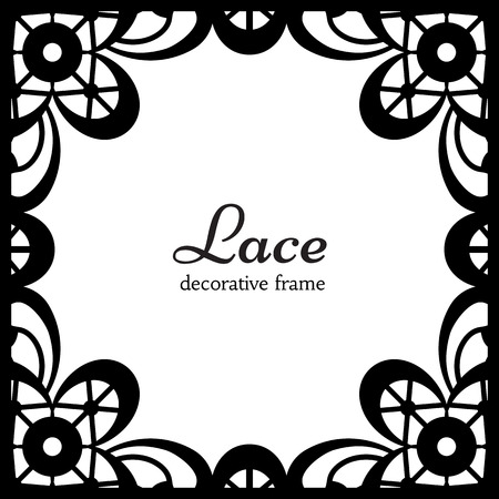 Black lace on white background, square ornamental frame Vector